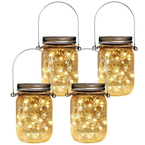 Homeleo 4 Pack Vintage Outdoor Solar Mason Jar Light Set(Lid Lights/Mason Jars/Hangers Included),20 LED Warm White Fairy Firefly Glass Bottle Solar Lights Kit for Garden Yard Path Party Umbrella Decor