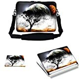 Meffort Inc 15 15.6 inch Laptop Carrying Sleeve Bag Case with Hidden Handle & Adjustable Shoulder Strap with Matching Skin Sticker and Mouse Pad Combo - View of Planet