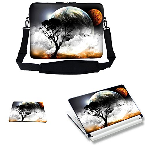 Meffort Inc 15 15.6 inch Laptop Carrying Sleeve Bag Case with Hidden Handle & Adjustable Shoulder Strap with Matching Skin Sticker and Mouse Pad Combo - View of Planet by Meffort Inc
