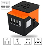 Travel Adapter, Xboun Universal Travel Power Adapter Plug US to UK, International Power Adapter with 4 USB & Built-in Spare Fuse for iPhone, Android and All USB Devices (Orange)