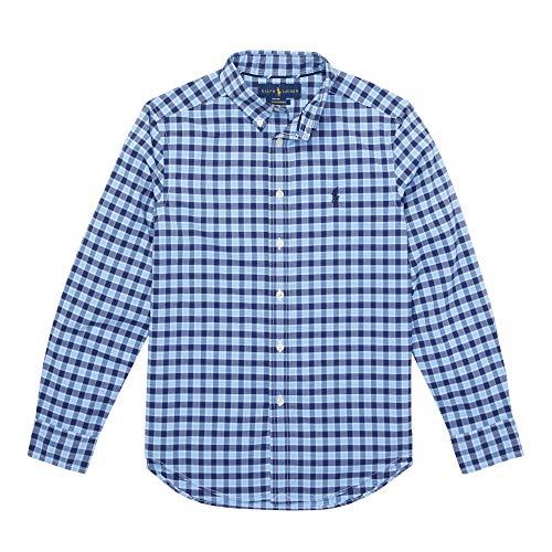 ys Plaid Cotton Poplin Button Down Shirt (S, BlueNavyMulti) ()