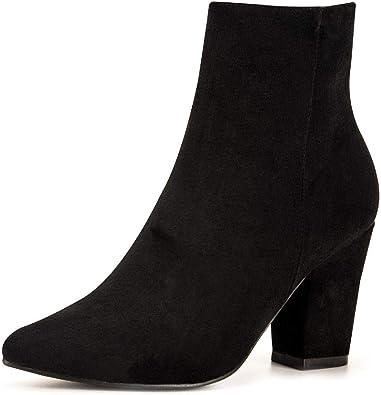 Jiu du Women's Chunky Block Heel Ankle