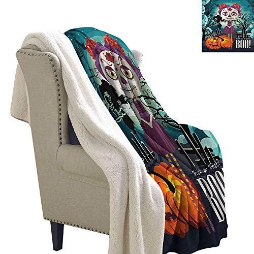 Beihai1Sun Halloween Light Thermal Blanket Girl Sugar Skull Makeup Cozy Blankets and Throws 60x47 Inch -