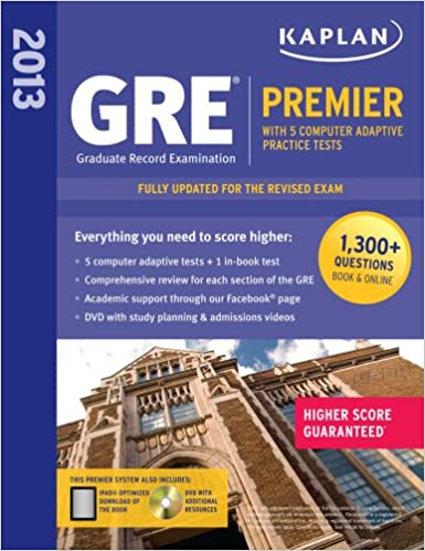 kaplan 2013 gre premier with 5 online practice tests dvd papcdrps edition