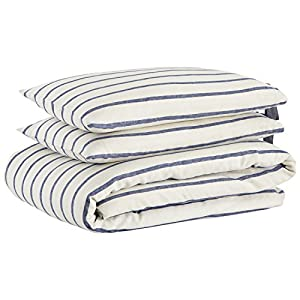 Stone & Beam Modern Farmhouse Striped Duvet Cover Set with Ties, Full/Queen, Blue and White