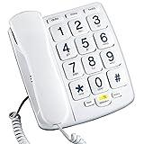 Emerson em300wh Big Button teléfono para ancianos Personas Mayores, con cable teléfono con altavoz, teléfono fijo (Refurbished Certificado)
