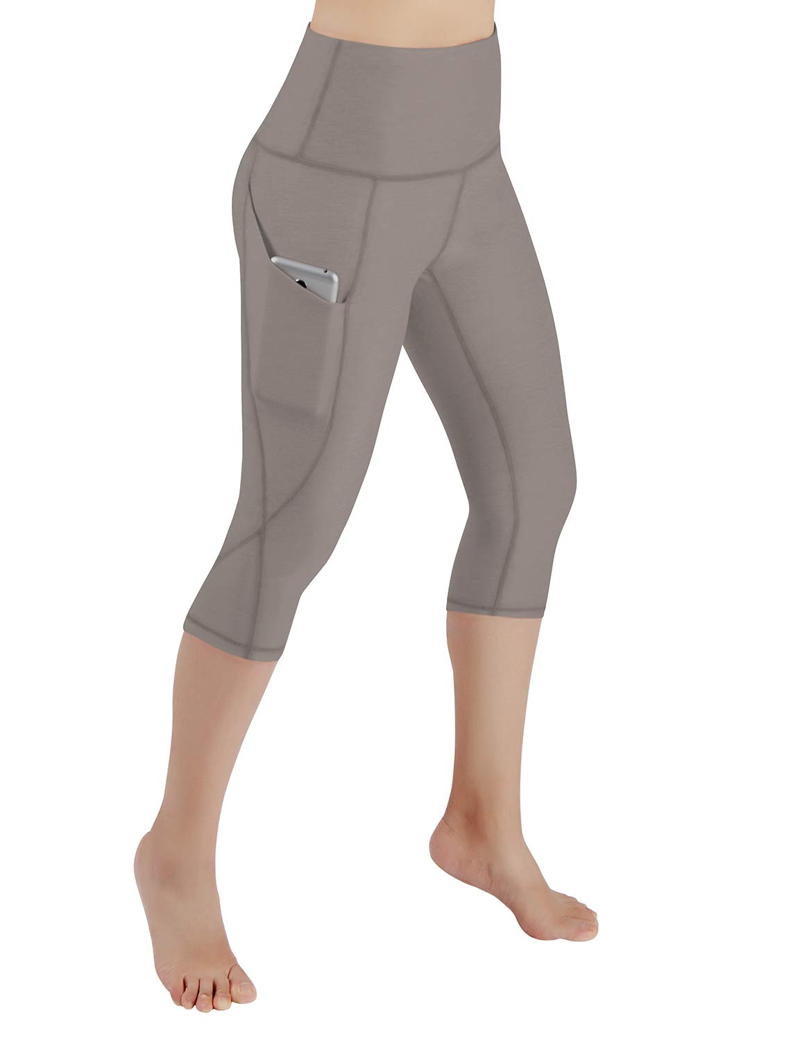 ODODOS Women's High Waist Yoga Capris with Pockets,Tummy Control,Workout Capris Running 4 Way Stretch Yoga Leggings with Pockets,DarkBeige,X-Large by ODODOS