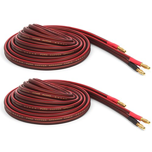 Micca Pure Copper Speaker Wire with Gold Plated Banana Plugs, 14AWG, 6 Feet (2 Meter), Pair by Micca