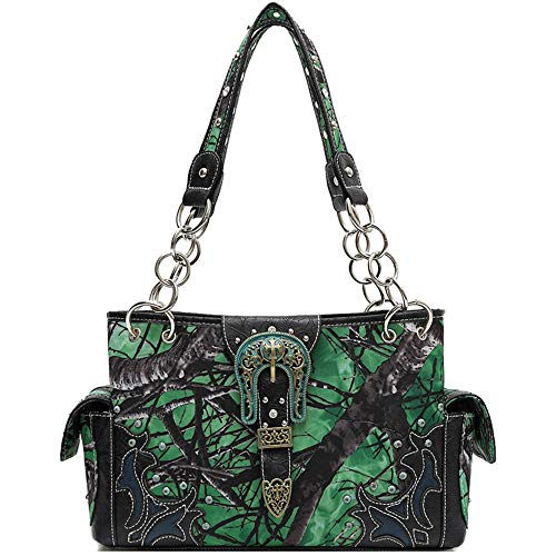 Western Style Camouflage Belt Buckle Rhinestone Concealed Carry Purse Women Handbag Country Shoulder Bag (Green)