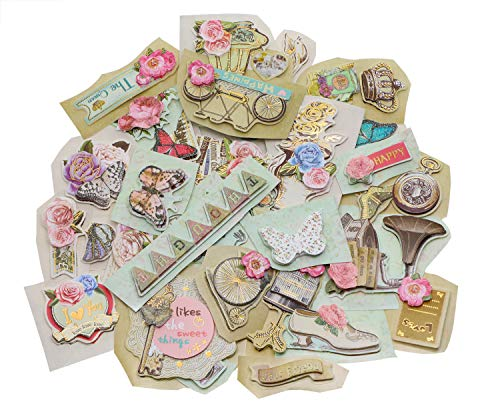 Penta Angel 3D Themes Embellishments Die-Cut Stickers Vintages Scrapbooking Stickers Supplies for DIY Card Making Art Craft Decorative, 39Pcs ()