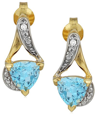 Sterling Silver Trillion-Cut Blue Topaz and Diamond Accent Stud ()