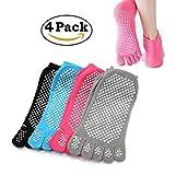 Yoga Socks 4 Pairs Non Slip Grip Socks Cotton Women Toe Pilates Socks