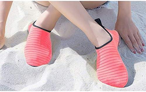 夏の女性と男性のビーチシューズ吸汗性のスイムシューズアウトドアスポーツシューズアンチカットシューズマルチコード(ブラックストライプ) ポータブル (色 : Black, Size : US8)