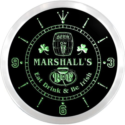Marshall Led Sign - ncpa0285-g MARSHALL'S Irish Shamrock Pub Beer Pub LED Neon Sign Wall Clock