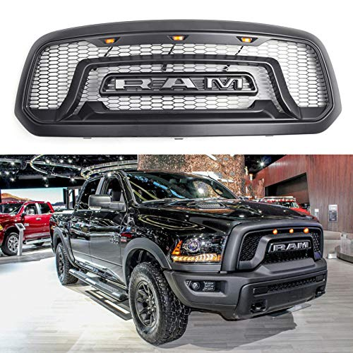 Vestian For 2013-2018 Ram 1500 Rebel-Style Bumper Front Grill Grille Amber LED Light