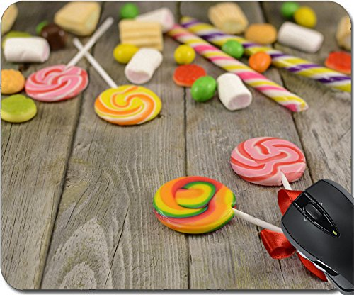 MSD Natural Rubber Mousepad Mouse Pads/Mat design: 27997223 Lollipops with sweet things on the wooden table