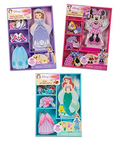 Melissa   Doug Disney Minnie Mouse  Sofia  And Ariel Magnetic Dress Up Wooden Dolls Pretend Play Set