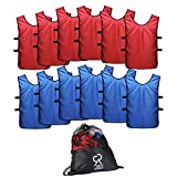 Sports Jersey Pinnies for Kids, Youth and Adults (12-Pack) | Perfect as Basketball Practice Jersey, Football Jersey or Pennies for Soccer | Last...