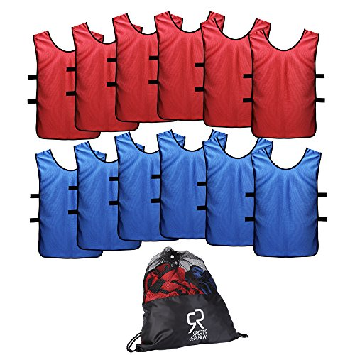 (SportsRepublik Pinnies Scrimmage Vests for Kids, Youth and Adults (12-Pack) - Soccer Pennies)