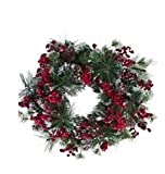 American Best Christmas Snowy Mix of Pine, Berries, and Pinecone BUYERS CHOICE of WREATH, GARLAND, SWAG, Table CENTERPIECE, or TEARDROP (24'' wreath)