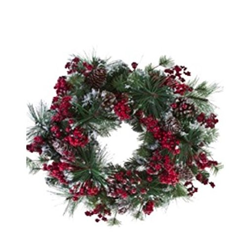 American Best Christmas Snowy Mix of Pine, Berries, and Pinecone BUYERS CHOICE of WREATH, GARLAND, SWAG, Table CENTERPIECE, or TEARDROP (24'' wreath) by American Best