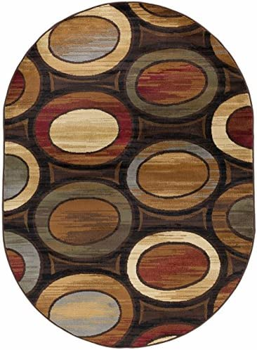 Martin Contemporary Geometric Multi-Color Oval Area Rug, 5 x 7 Oval