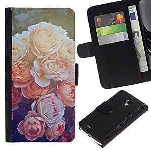For Samsung Galaxy S4 Mini i9190 MINI VERSION!,S-type® Peony Orange Sun Nature Flower - Dibujo PU billetera de cuero Funda Case Caso de la piel de la bolsa protectora