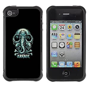 KEIZZ Cases / Apple Iphone 4 / 4S / Arkaik - Skull & Elephant / Robusto Prueba de choques Caso Billetera cubierta Shell Armor Funda Case Cover Slim Armor