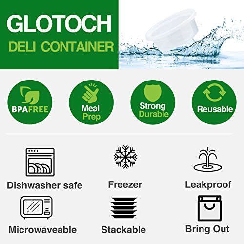 Large Product Image of Glotoch 8oz Deli Plastic Food Containers with Lids, Leakproof Slime Small Combo Pack [Reusable, Kitchen Storage,Lunch Meal Prep, Soup,Portion Control, Dishwasher, Microwaveable & Freezer Safe.(24pack)