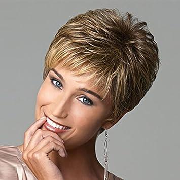 Amazon Com Short Pixie Cut Hair Wigs For Women Brown Blonde Mixed