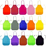 Outuxed Children's Artists Fabric Aprons, Kids Art Smock with Pockets for Craft, Kitchen, Painting (15 Pcs, 15 Colors)