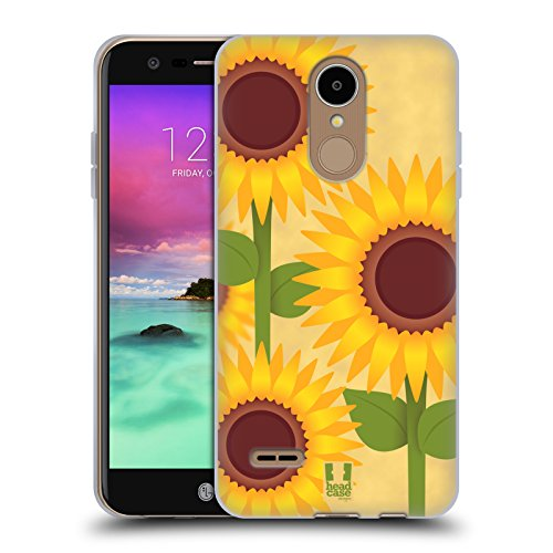 Suns Phoenix Crystal (Case+Stand Flexible Soft Gel TPU Protector Snap on Fits LG L58VL Rebel 2/K4 2017/M153 Fortune/M150 Phoenix 3/K8 2017/Aristo/MS210 LV3/M200N Back Cover Sunflower Sun Flower)