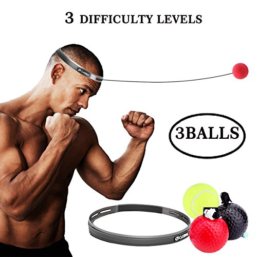 Boxing Fight Ball Reflex for Improving Speed Reactions and Hand Eye Coordination,Boxing Punch Equipment for Boxing, MMA and Other Combat Sports Training and Fitness ()