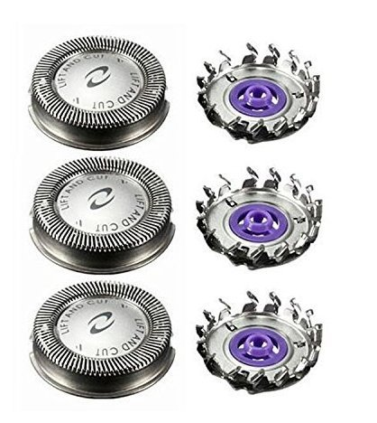 3 Pack Shaver Head Replacement Rotary Blades DualPrecision for Norelco HQ4+ Series Many Models, Mens Electric Shaver Philips Shaving Head Blades Spares to Men a Close Shave Comfortable.