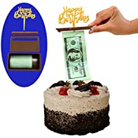 Money Cake Dispenser Box, Cake Money Pull Out Kit, Money Cake Set includes 1 plastic roll (50 connected pockets) and Happy Birthday, Graduation, or Card Holder Topper
