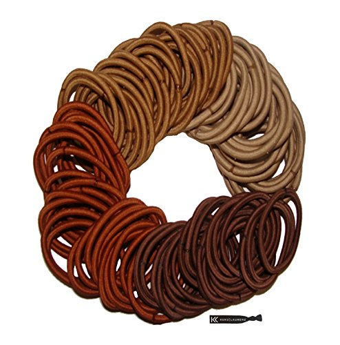 Kenz Laurenz 100 Hair Elastics Hair Ties No Crease Ouchless Ponytail Holders No Metal 4mm (100 Hair Elastics--Brown Ombre)