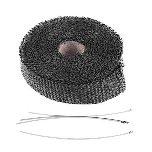 Motorfiets hittewerende band, 5 m auto isolatieband, uitlaathittefolie met 4 roestvrijstalen kabelbinders zwart voor…