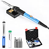: 6-in-1 60W Soldering Iron Gun with Carry Case and Cleaning Sponge Stand, SOAIY Adjustable Temperature Welding Soldering Iron , Including 5pcs Different Soldering Tips, Desoldering Pump, Soldering Wire