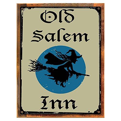 Wood-Framed Old Salem Inn Metal Sign, Vintage Halloween Witch on Broomstick for kitchen on reclaimed, rustic wood]()