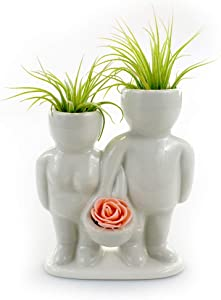 Ceramic People Planters for Air Plants - Air Plant Vase - Table Top Display Planters for Air Plants and Other Mini Plants (Couple w/Basket)
