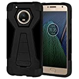 AMZER Slim Dual Layer Hybrid Kickstand Soft Skin Hard Shell Protective Case for Motorola Moto G5 Plus - Black