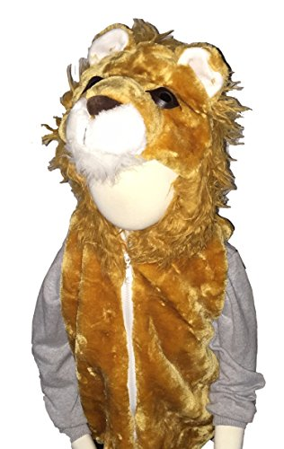 Fashion Vest with Animal Hoodie for Kids - Halloween Dress Up Costume - Pretend Play (Medium, Lion) -