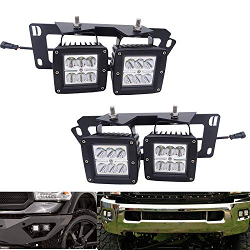 4x 3 Inch 18W Dually LED Fog Light Pods with Quick-Detach Wiring Plug and Fog Lamp Location Mounting Bracket Fits for Dodge 2010-2019 Ram 2500 3500, 2009-2012 Ram 1500