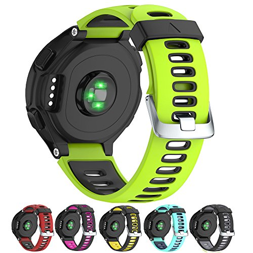 NotoCity Silicone Watch Band Replacement Solft Silicone Strap Compatible Garmin Forerunner 230/220/ 235/620/ 630/ 735XT-Green