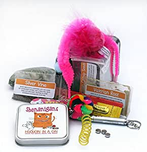 Hooligan in a Can Premium Catnip & Silvervine Cat Toy Gift Pack - PURRfect present for Crazy Cat Ladies!