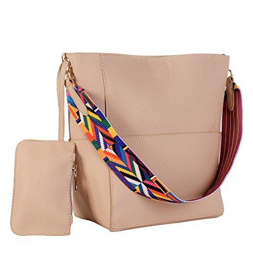 Womens PU Large Litchi Grain Handbag Cross Body Purse with Colorful Straps
