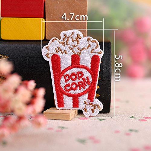 Iron on Fabric Patch - Big Popcorn - Set of 2 - FP109