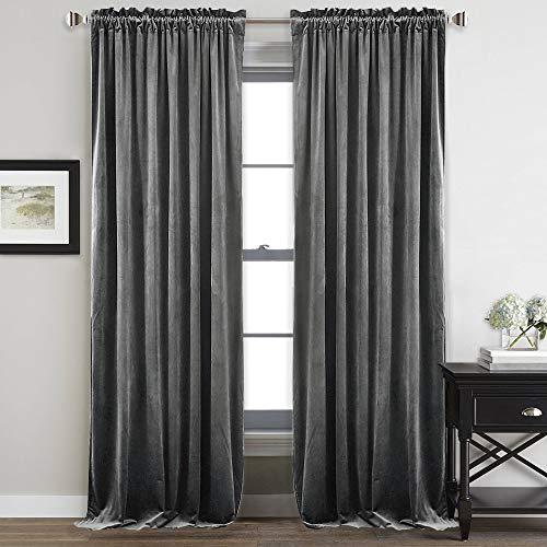Velvet Drapes - StangH Bedroom Velvet Curtains Grey - Luxury Decor Velvet Textured Blackout Heat Insulated Sliding Door Panel Drapes, 52 by 96-inch, 2 Panels