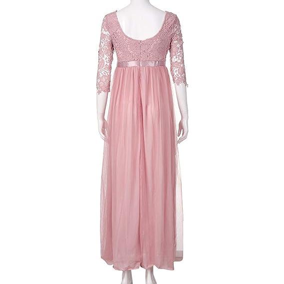 Qiusa Vestido de Noche sin Espalda de Dama de Honor de Encaje de Gasa de Las Mujeres (Color : Rosado, tamaño : Large): Amazon.es: Hogar