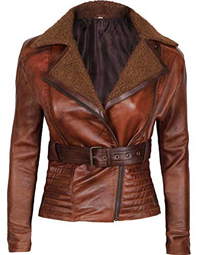 Blingsoul Leather Moto Jacket Women - Distressed Brown Leather Jacket | [1300435] Tomb, XL